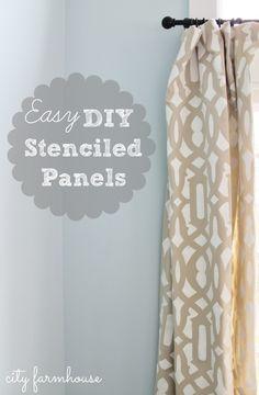 City Farmhouse DIY Stenciled Curtain Panels: 5 easy steps