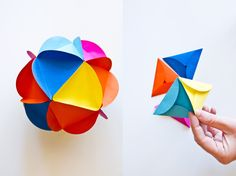Paper-ball / think Christmas ornaments using Christmas cards