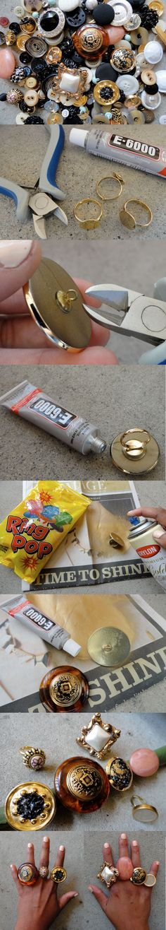 DIY Button Rings.