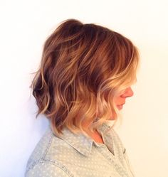 Warm golden blonde colour. Ombre or sombre. Waves in this bob show off the cut and colour.