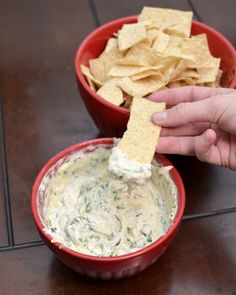 Spinach Dip  6 oz cream cheese 3/4 cup spinach cooked (so probably about 1 1/2 cups raw) 1/4 cup parmesan cheese 3/4 cup shredded cheddar jack cheese 2 TBS sour cream 1/2 TBS minced garlic 1/2 tsp salt  1. Combine all ingredients in a medium sized bowl. 2. Stir together using a whisk or fork until combined. 3. Microwave for 3 minutes on half power.