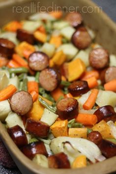Kielbasa and Roasted Vegetables….just chop, toss and bake {So Easy} | reallifedinner.com