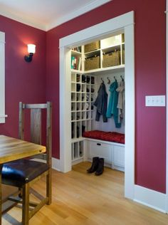 Coat closet that doesn't get the right amount of usage, transform it into a mudroom...love the small cubbies for shoes, etc..