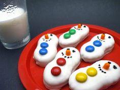 snowmen cookies, almonds, nutter butter, white chocolate, black, christma, butter snowmen, treat, snowman cookies