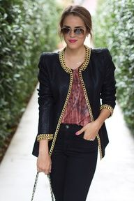 fashion, blazer, street style, chains, outfit, jackets, beauty blogs, black jeans, gold shoes