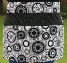 Black and White 'Spirograph' Vendor Apron / Craft Apron by PunkiePies