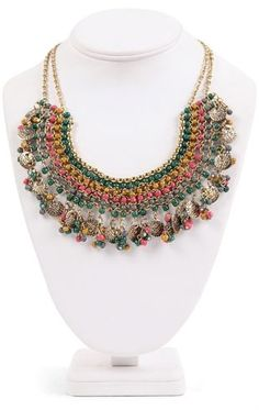 Deb Shops Statement Necklace with Multicolor Beaded Discs $5.00