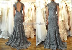 Wholesale 2013 New Arrivals Trumpet High Collar Short Sleeves Backless Lace Gray Wedding Dress, Free shipping, $262.08-290.08/Piece | DHgate
