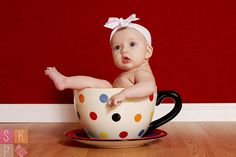 3 month old baby in cup  @jan issues issues issues Brewer  do you still have that tea cup flower pot??