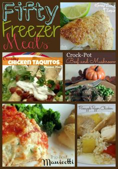 Freezer Meal Recipes: Crock-Pot Beef and Mushrooms Skillet Honey Lime Tilapia Chicken Pot Pie Parmesan Chicken Chicken and Okra Gumbo Crock Pot BBQ Beef Cheesy Spinach Burgers