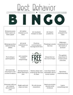 You can download a PDF version of our Best Behavior BINGO card!