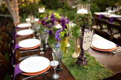 ignore the medieval theme and look at the moss runner with purple which could be eggplant instead.... Medieval outdoor castle wedding w/ purple & moss!