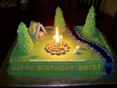 Homemade Camping Birthday Cake: This Camping Birthday Cake was a huge hit!  The trees are sugar cones iced green.  I used the star tip and pulled out long strands to make them look like