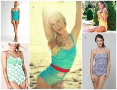 A list of sites to find modest swim suits. - I happen to think the swimsuits in the picture are adorable. Pin now for next summer!