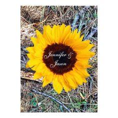 Rustic Country Camo Sunflower Wedding Invitations