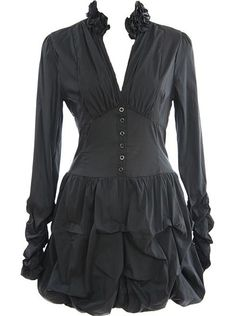 Bubbled Shirt Dress: Features a frilled stand-up collar crowning a slivered V-neckline, long sleeves with gathered ends, miniature buttons cascading down a panelled waist, and a gathered bubbled hem to finish.