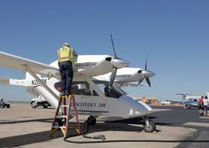 An experimental aircraft, the Discovery 201, prepares for parking at Airportfest.