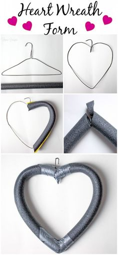 DIY Cheap and Easy <3 shaped wreath form- made from a coat hanger and pool noodle. Then decorate!