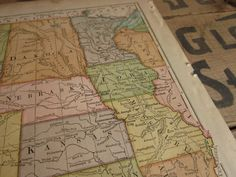 Antique United States Map, 1883 Colorful Shabby Antique Map of Central States Including Minnesota Kansas Iowa Etc.