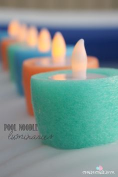 Cut pool noodles into quick and easy light up luminaries for any room in the house this summer.