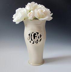 Cursive Monogram Vase by MaidOfClay, $80.00