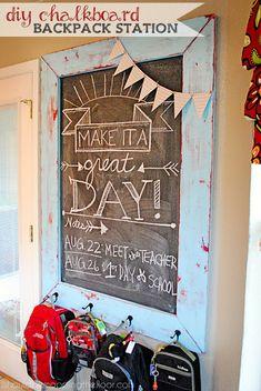DIY Chalkboard Backpack Station