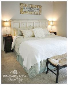 Decorating Ideas Made Easy ~ Beautiful Master Bedroom Makeover- I love the head board!