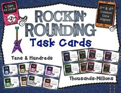 school, 4th grade math, math task, card total, round, 3rd and 4th grade, task cards 3rd grade, common core, differenti