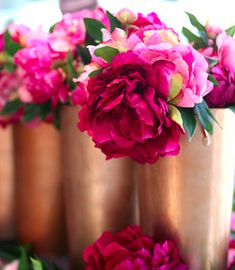 fuchsia flowers in copper vases pink flowers, fuchsia flower, color combos, wedding flowers, peoni