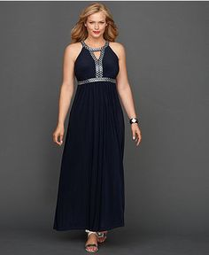 INC International Concepts Plus Size Dress, Sleeveless Beaded Keyhole Maxi Only@Macys  Web ID: 971335