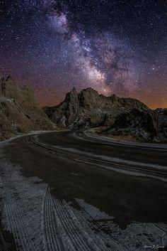 Milky Way stars shine bright over the Badlands National Park, South Dakota, USA - #BlackHills