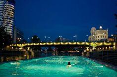 "Late night swimming at the ""Badeschiff"" at the Donaukanal in Vienna Austria #austria #vienna #danube #badeschiff #swimming #visitaustria"
