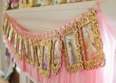 Gold Glitter Frames for Birthday Timeline
