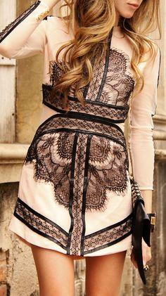blush lace dress holiday parties, fashion, style, blush lace, colors, lace detail, black, lace dresses, fall dresses