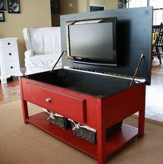 tv storage, hide tv, coffee tables, idea, hidden tv