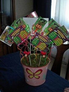 Lottery Bouquet - Cute silent auction idea!  gift ideas - gifts - hostess gift - present - housewarming - thank you gift - cool gifts - holiday - gift baskets - raffle gift - raffle basket - bridal gift - bridal shower favor - Christmas gift - teacher gift - party favor - favors