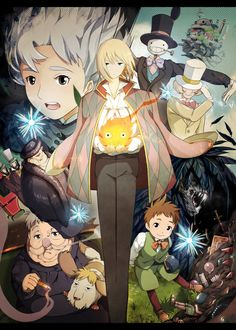 hayao miyazaki, studio ghibli, fan art, anim, howls moving castle, manga, castles, howl move, move castl