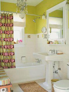 wall colors, chandeliers, small bathrooms, bathroom designs, bathroom ideas, shower curtains, bathroom decor, amy butler, bright colors