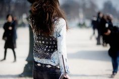 Embellished denim jackets.
