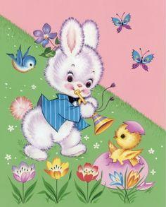 vintag easter, easter bunni, easter bunny, bunni chick