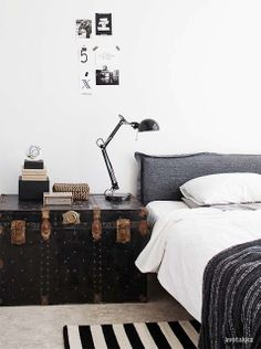 interior design, design projects, black white, finland, antique trunks, bedside tables, white interiors, decor idea, bedroom