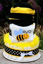 3 Tier Bumble Bee Theme Diaper Cake