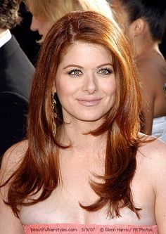 Debra Messing in Strapless Gown with Long Hairdo Down in Layers - Beautiful Hairstyles
