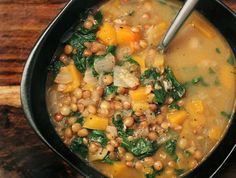 French Green Lentil & Butternut Squash Soup with Kale