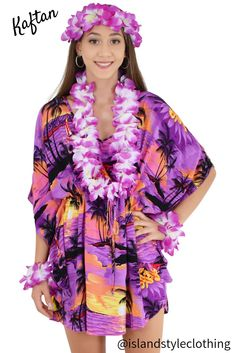 Pretty in Purple. Ladies Kaftan Poncho beach cover up. Throw this delightful caftan over your bikinis or jeans for a day at the beach, cruising or casual wear. Add a lei set to complete your tropical party look. Lots of colours and patterns to choose from. #poncho #kaftan #bikini #beachcoverup #caftan #luau #luauparty #cruise #cruisewear #fancydress #hens #bachelorette #tropical #tropicalparty