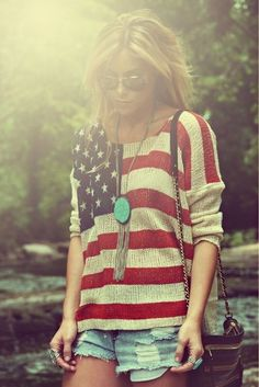 jean shorts, sweater, fashion, flag, fourth of july