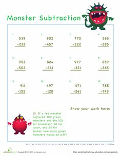 digit addition and subtraction on Pinterest | Subtraction Games ...