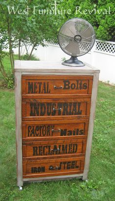industrial dresser redo wth diy pulls  and letter transfer tutorial: West Furniture Revival