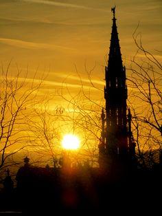sunset over brussels, belguim
