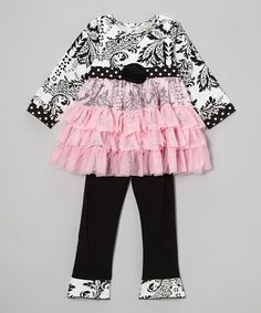 Take a look at this Pink & Black Ella Tunic & Ruffle Pants - Infant, Toddler & Girls by AnnLoren on #zulily today!